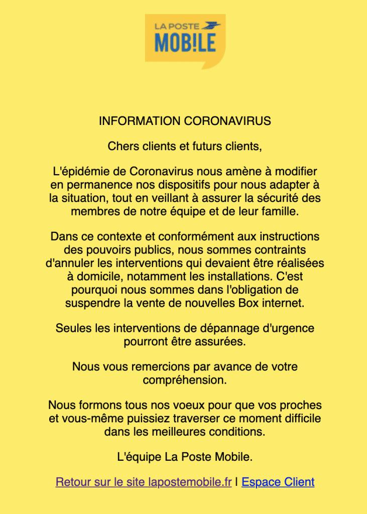 Coronavirus : box internet la poste mobile