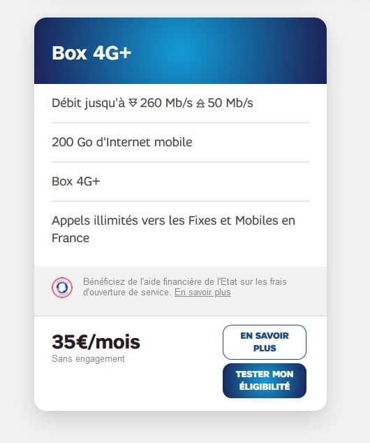 offre débit box 4G+