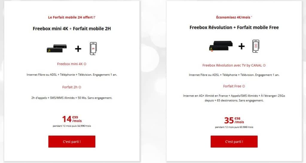 Free forfait box et mobile