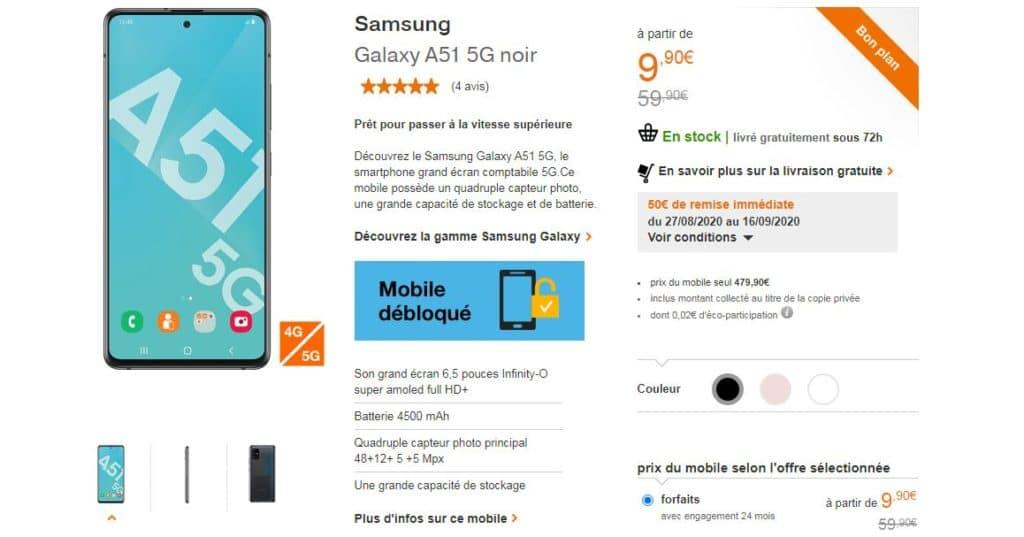 Orange Mobile Le Samsung Galaxy A51 5g Noir A 9 90 Au Lieu De 59 90 Pour Toute Souscription Au Forfait 120 Go Avec Mobile